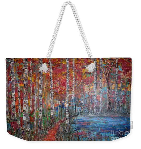 Sunlit Birch Pathway Weekender Tote Bag
