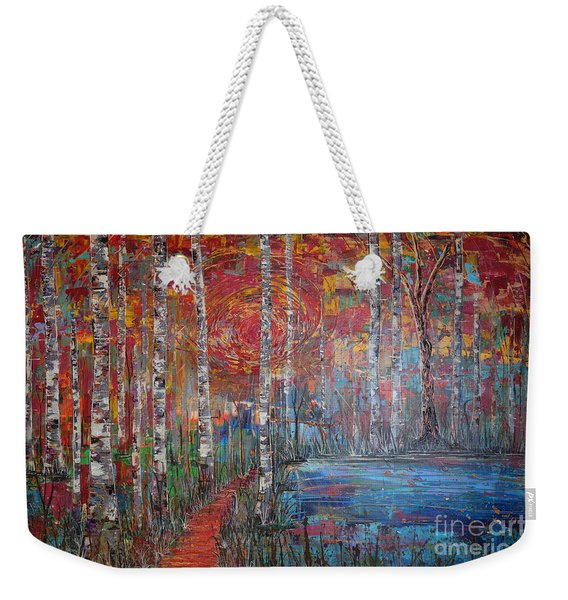 Weekender Tote Bag featuring the painting Sunlit Birch Pathway by Jacqueline Athmann
