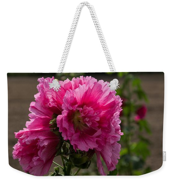 Sunny Vivid Pink Hollyhocks In A Cottage Garden Weekender Tote Bag