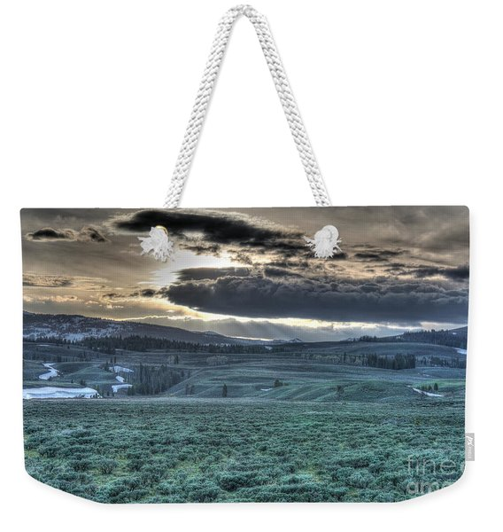Sunrise At A Small Pond In Yellowstone Weekender Tote Bag