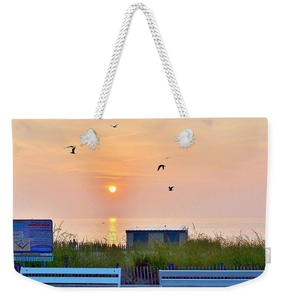 Sunrise At Rehoboth Beach Boardwalk Weekender Tote Bag