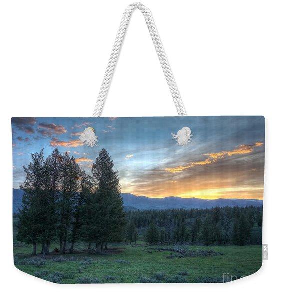 Sunrise Behind Pine Trees In Yellowstone Weekender Tote Bag