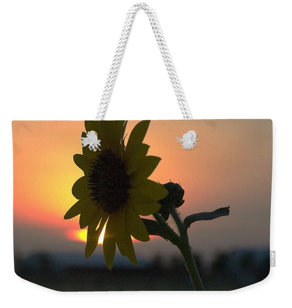 Weekender Tote Bag featuring the photograph Sunset And Sunflower by Mae Wertz