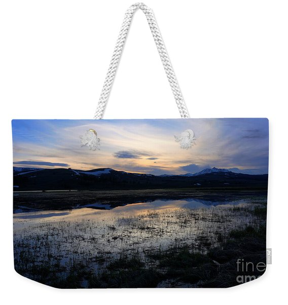 Sunset At A Lake Near Mammoth In Yellowstone Weekender Tote Bag