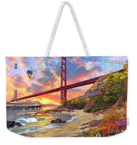 Sunset At Golden Gate Weekender Tote Bag