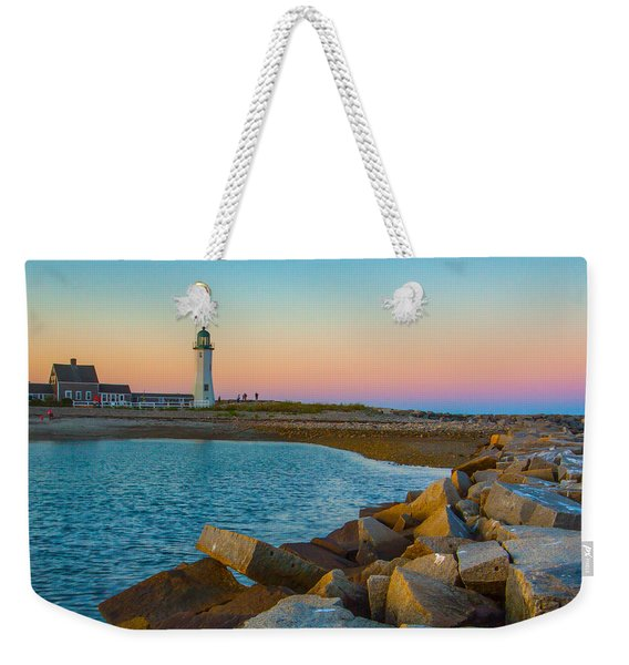 Sunset At Old Scituate Lighthouse Weekender Tote Bag