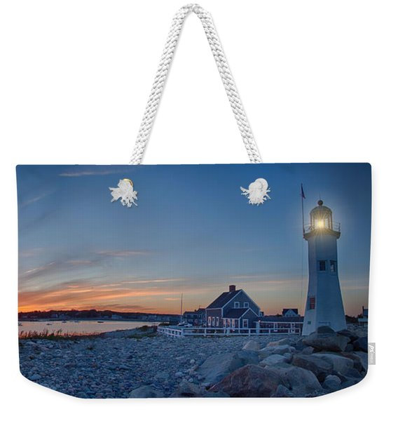 Weekender Tote Bag featuring the photograph Sunset At Scituate Light by Jeff Folger