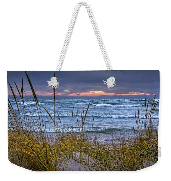 Sunset On The Beach At Lake Michigan With Dune Grass Weekender Tote Bag