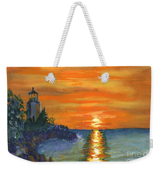 Sunset At The Lighthouse Weekender Tote Bag