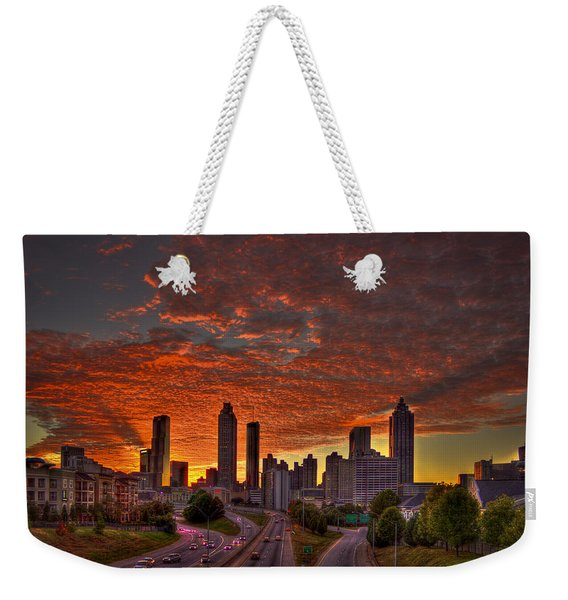 Sunset Skyline Atlanta Downtown Orange Weekender Tote Bag