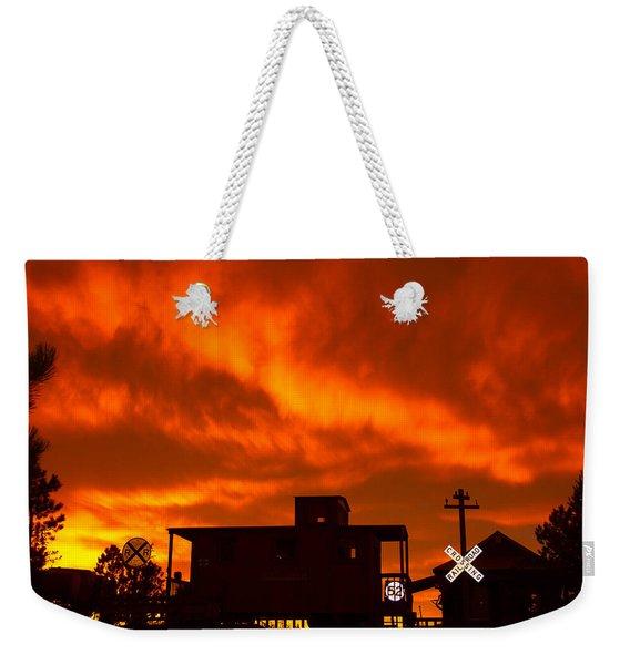 Sunset Caboose Weekender Tote Bag
