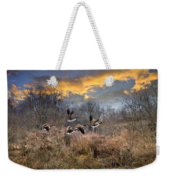 Sunset Geese Weekender Tote Bag