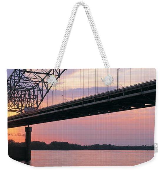 Sunset, Hernandez Desoto Bridge And Weekender Tote Bag
