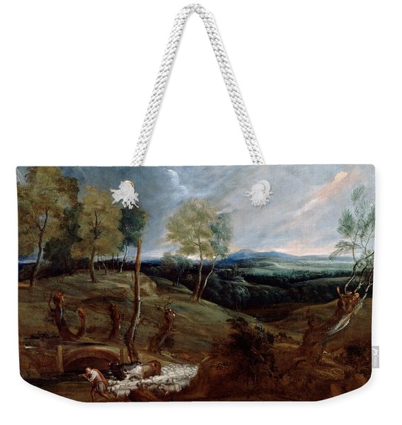 Sunset Landscape With A Shepherd And His Flock Weekender Tote Bag
