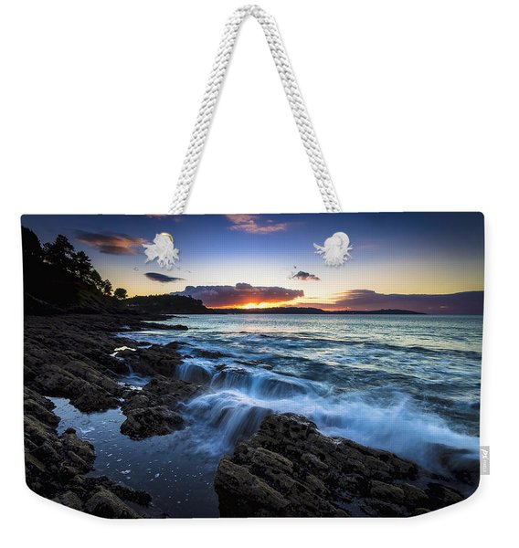Sunset On Ber Beach Galicia Spain Weekender Tote Bag