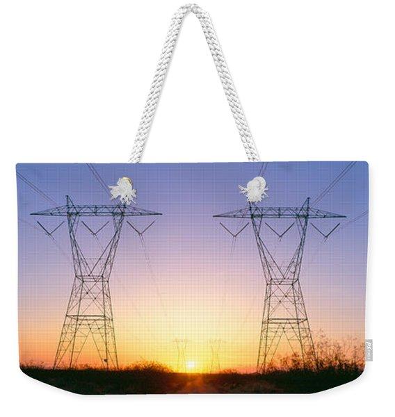 Sunset On Electrical Transmission Weekender Tote Bag