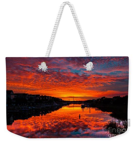 Sunset Over Morgan Creek - Wild Dunes Resort Weekender Tote Bag