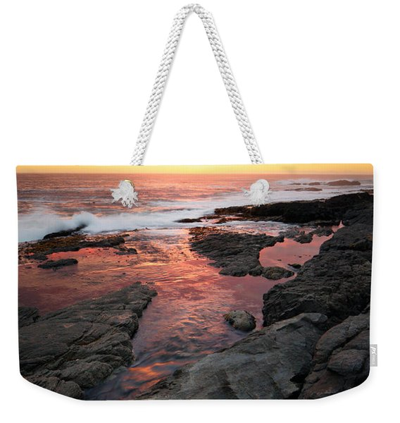 Sunset Over Rocky Coastline Weekender Tote Bag