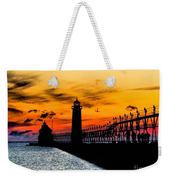 Sunset Walking On Grand Haven Pier Weekender Tote Bag