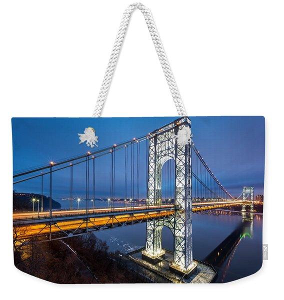 Weekender Tote Bag featuring the photograph Super Bowl Gwb by Mihai Andritoiu