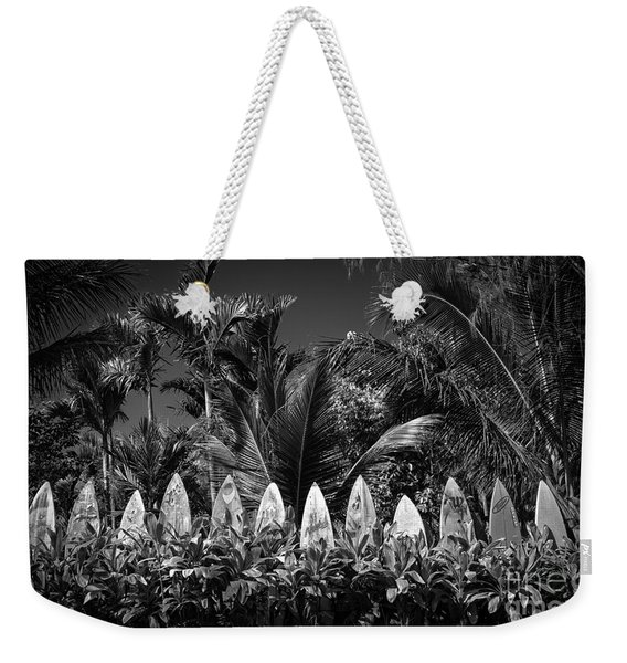 Weekender Tote Bag featuring the photograph Surf Board Fence Maui Hawaii Black And White by Edward Fielding