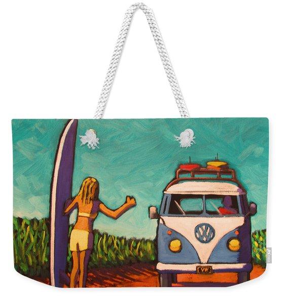 Surfer Girl And Vw Bus Weekender Tote Bag