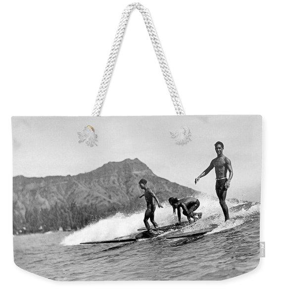 Surfing In Honolulu Weekender Tote Bag