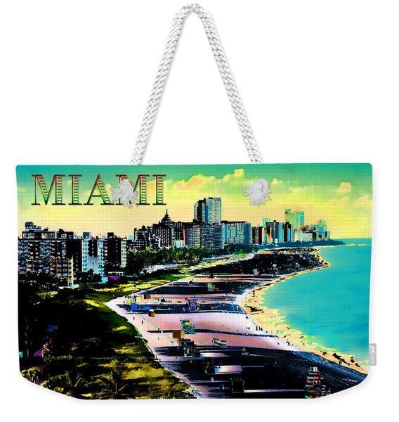 Surreal Colors Of Miami Beach Florida Text Miami Weekender Tote Bag