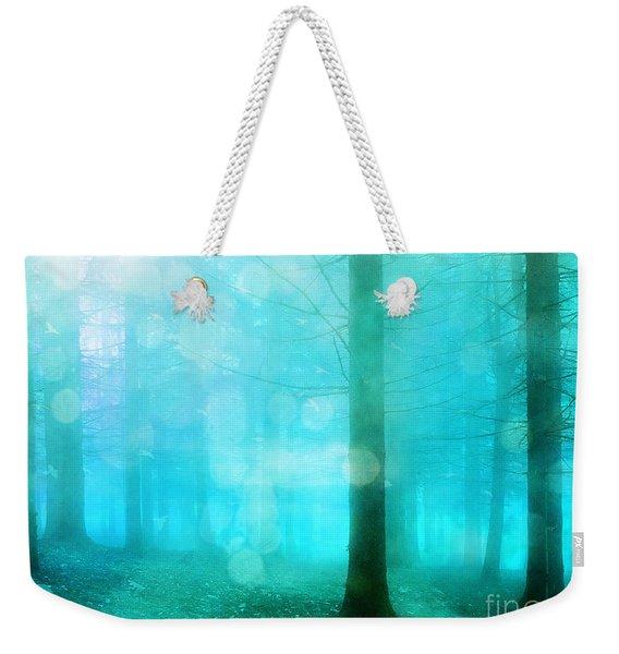 Surreal Dreamy Fantasy Bokeh Aqua Teal Turquoise Woodlands Trees  Weekender Tote Bag