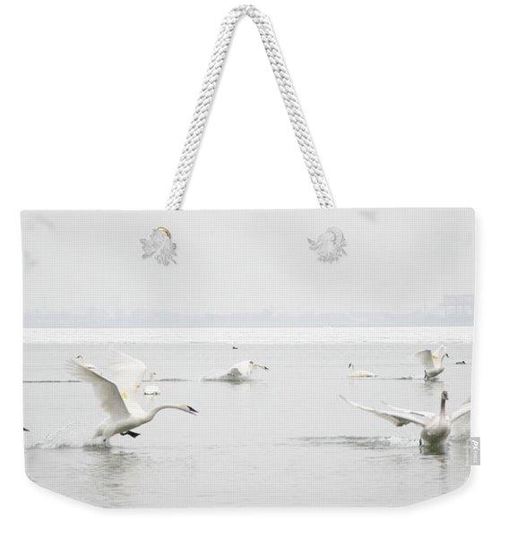 Swan Fight Weekender Tote Bag