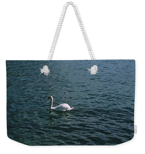 Swan Swimming In A Lake With A Castle Weekender Tote Bag