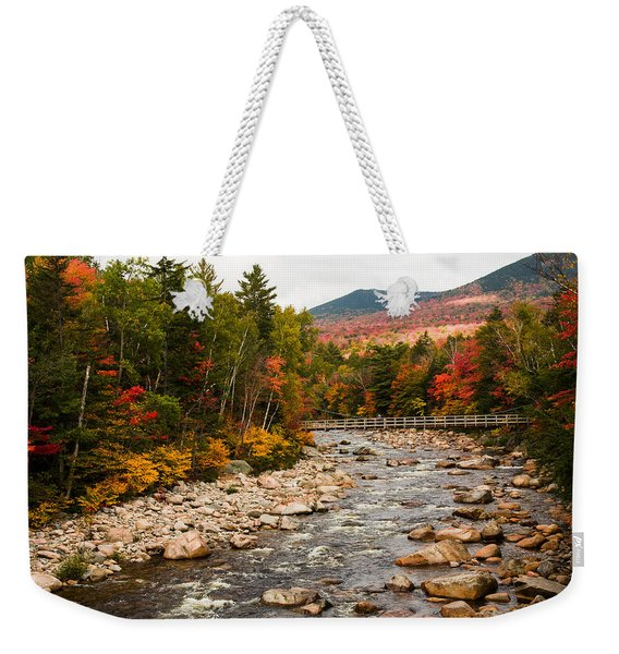 Weekender Tote Bag featuring the photograph Swift River Painted With Autumns Paint Brush by Jeff Folger