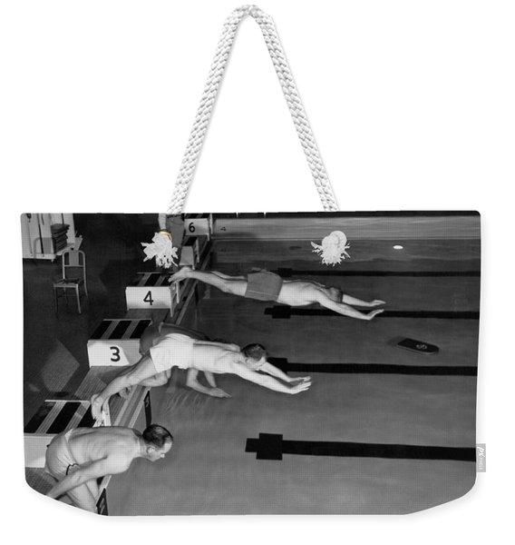 Swimming Race Start Weekender Tote Bag