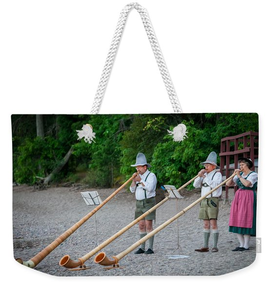 Swiss Alpine Horns Lake Mcdonald Glacier National Park Weekender Tote Bag
