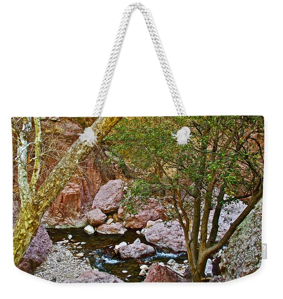 Sycamore And Cottonwood In Whitewater Catwalk National Recreation Trail Near Glenwood-new Mexico  Weekender Tote Bag