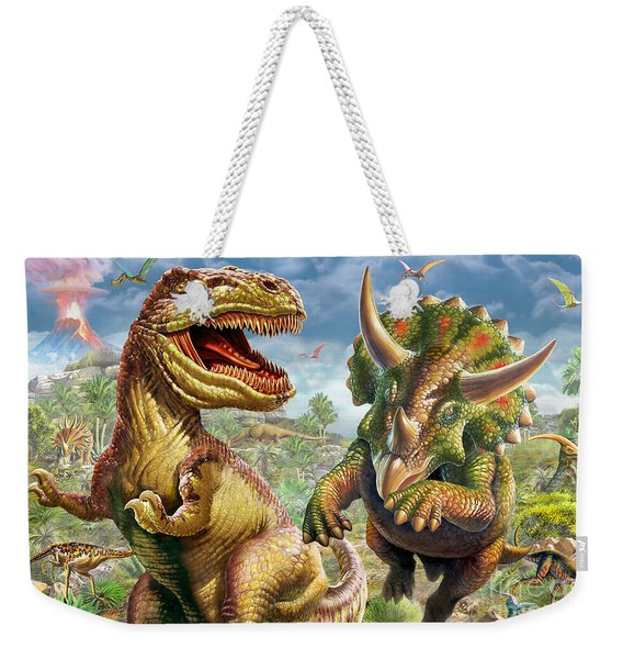 T-rex And Triceratops Weekender Tote Bag