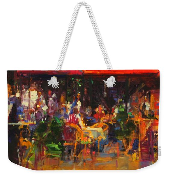 Table At Villefranche Oil On Canvas Weekender Tote Bag