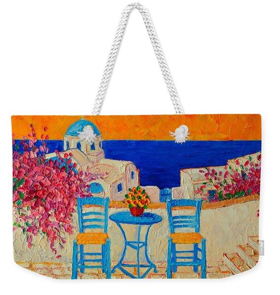 Table For Two In Santorini Greece Weekender Tote Bag