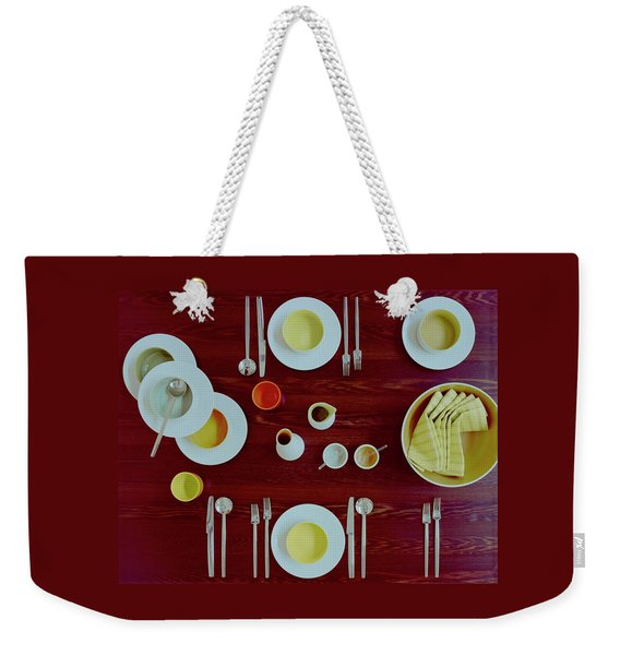 Tableware Set On A Wooden Table Weekender Tote Bag