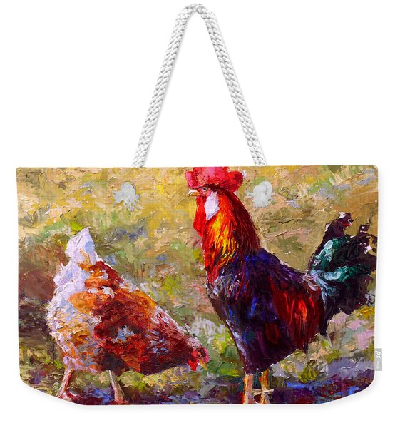 Rooster And Hen Farm Art Chicken Painting  Weekender Tote Bag