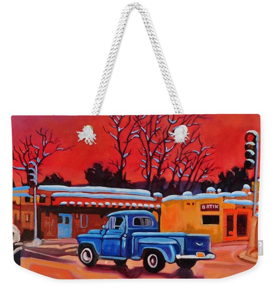 Taos Blue Truck At Dusk Weekender Tote Bag