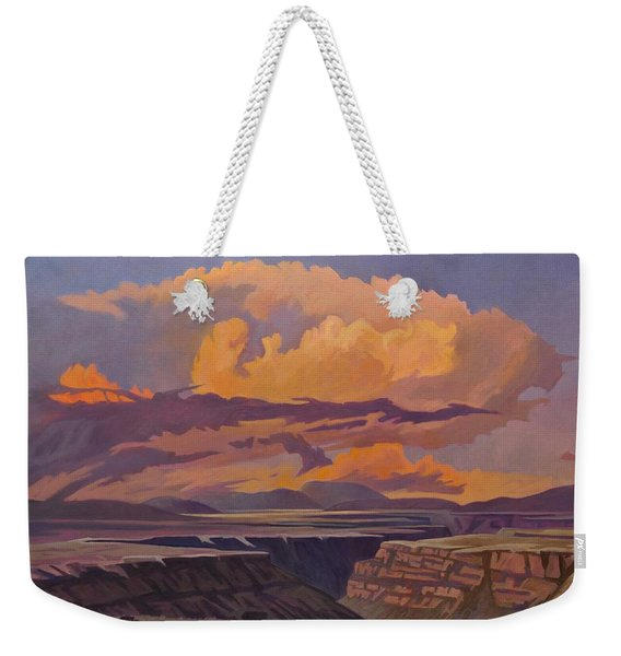 Weekender Tote Bag featuring the painting Taos Gorge - Pastel Sky by Art West