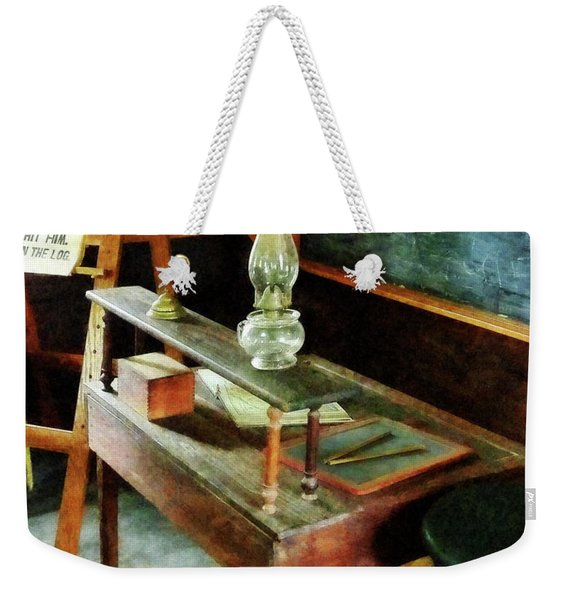 Teacher's Desk With Hurricane Lamp Weekender Tote Bag