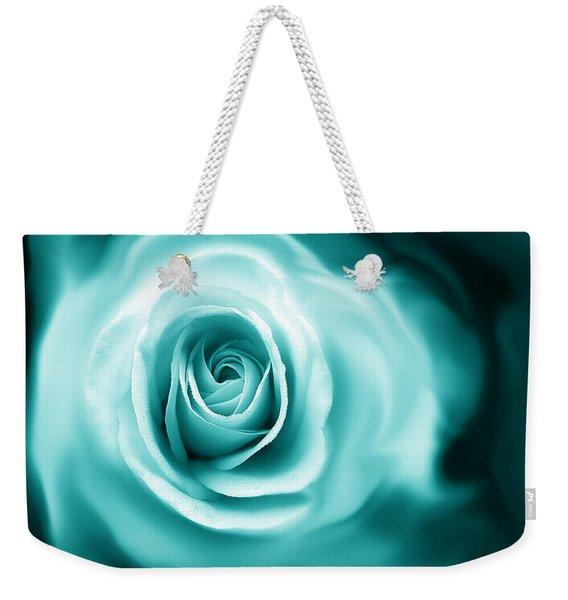 Teal Rose Flower Abstract Weekender Tote Bag