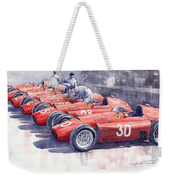 1956 Team Lancia Ferrari D50 Type C 1956 Italian Gp Weekender Tote Bag