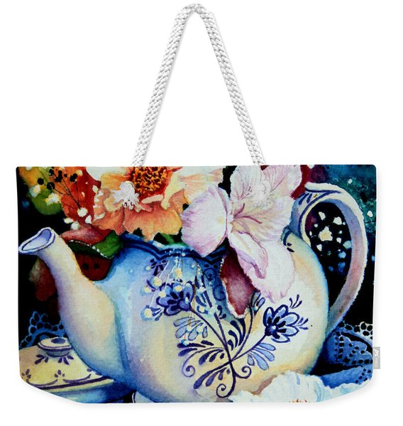 Teapot Posies And Lace Weekender Tote Bag