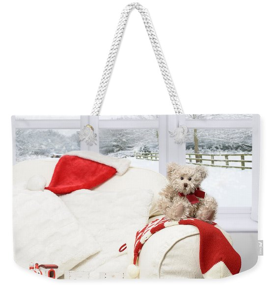 Teddy Bear On Sofa Weekender Tote Bag