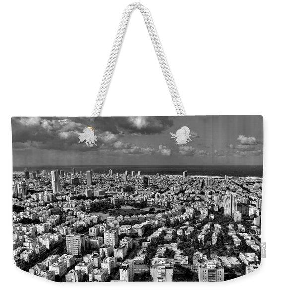 Tel Aviv Center Black And White Weekender Tote Bag