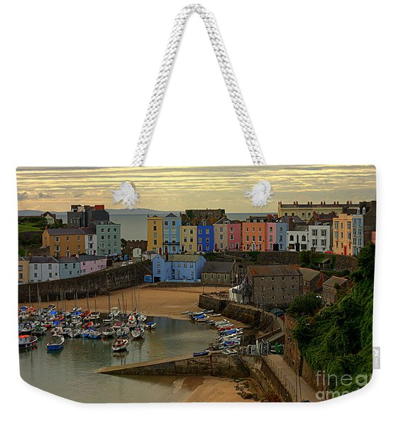 Weekender Tote Bag featuring the photograph Tenby Harbour In The Morning by Jeremy Hayden