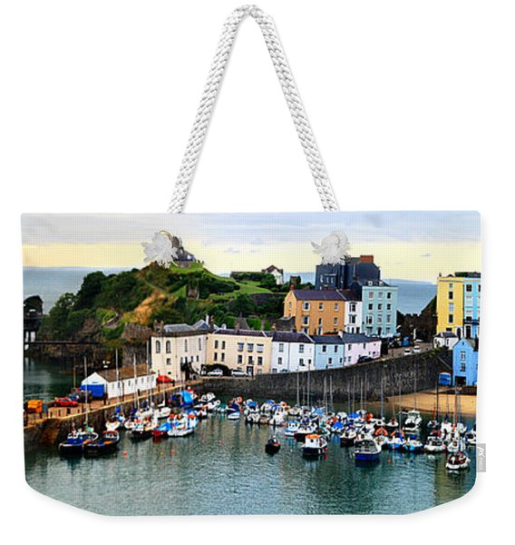 Weekender Tote Bag featuring the photograph Tenby Harbour Panorama by Jeremy Hayden